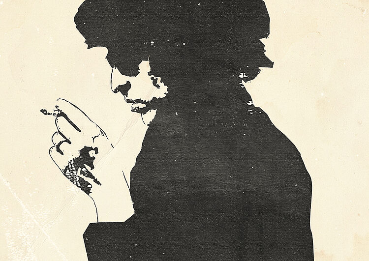 Illustration af Bob Dylan set i profil